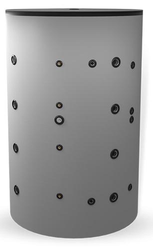Снимка на Неемайлиран буферен съд 1000 л. с две черни и една неръждаема серпентина BCWS2 2000F